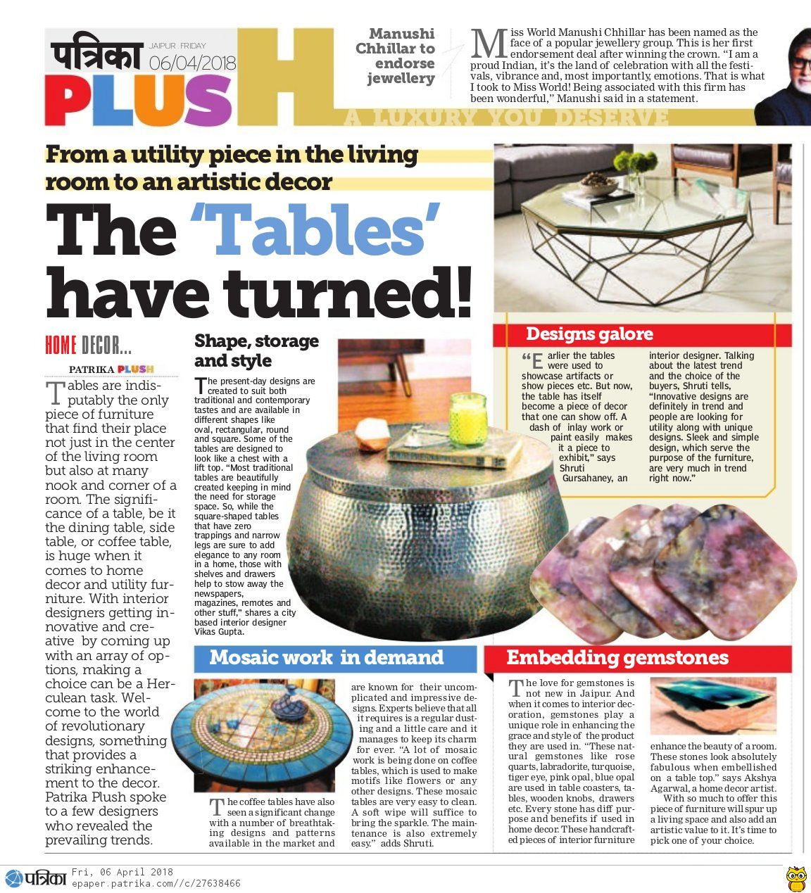 Gemstone Coasters: Patrika Plus