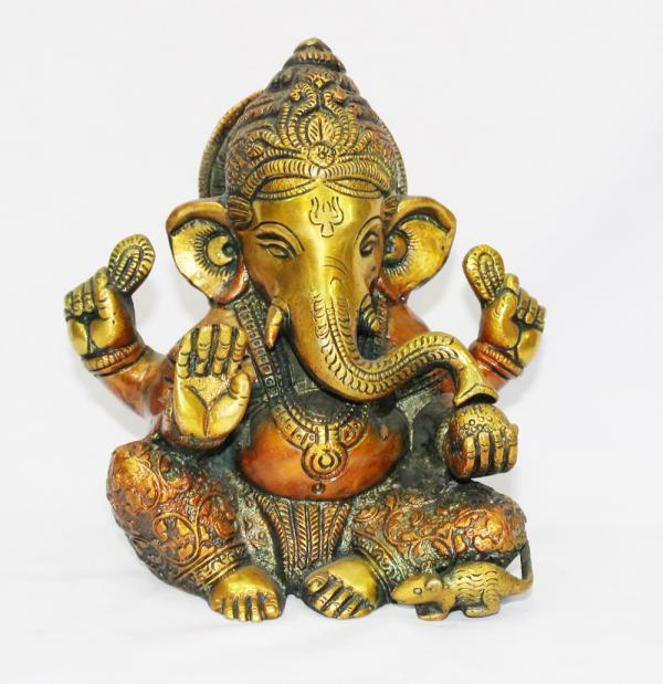 6' inch Brass Ganesha with two tone plating