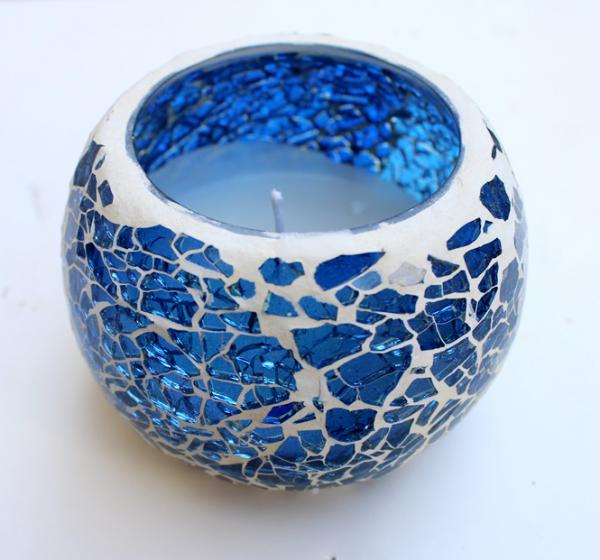 Handmade blue mosaic candle with soy wax