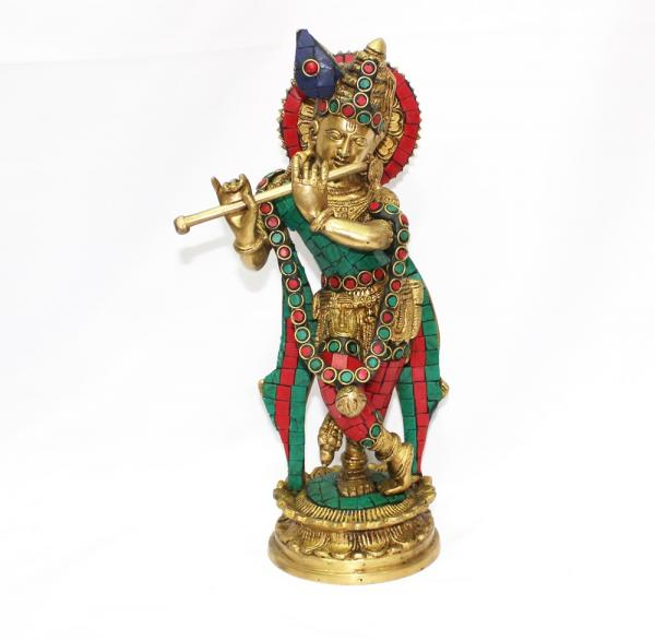 11' inch Brass Lord Krishna with stone chips