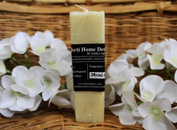 5 * 1.5 inch Eco- friendly bees wax pillar with jasmine scent