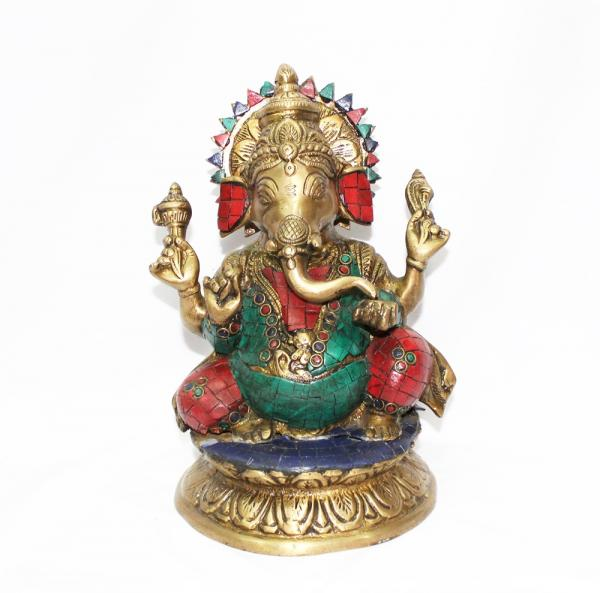 9' inch Brass Ganesha with stone chips