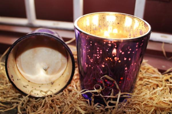 Set of 4 scented candles with purple shimmer votives