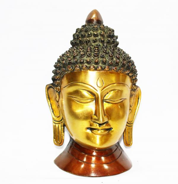 9' inch Brass Buddha head with two tone plating