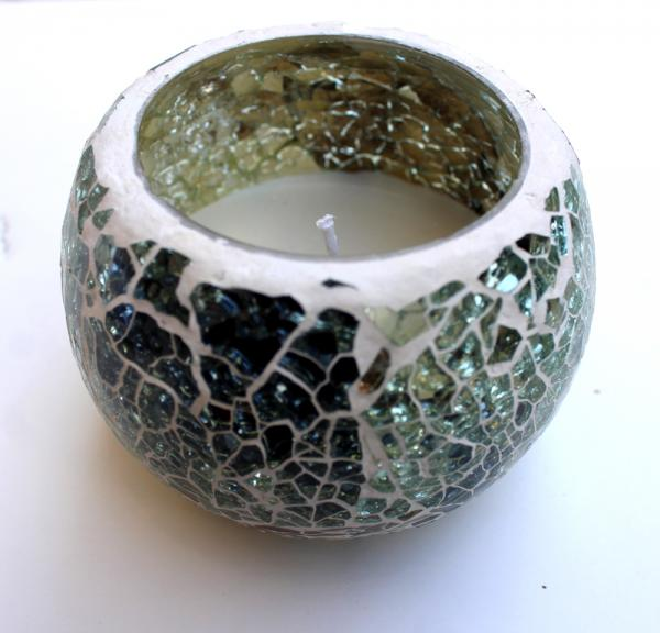 Handmade mosaic candle with soy wax