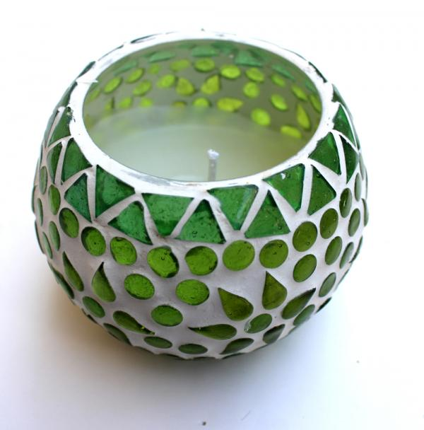 Handmade green mosaic candle with soy wax