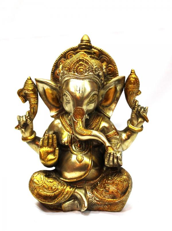 8' inch Brass Ganesha with two tone plating