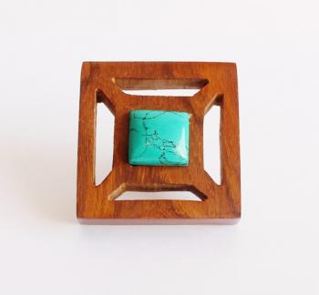 2*2 inch Square Wooden Knob with Turquoise stone