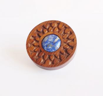 Round hand carved wooden knob with Lapis stone