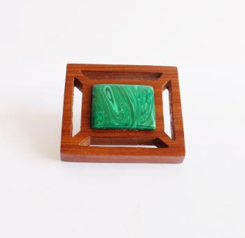 3.0L* 2.5W Rectangle wooden knob with Malachite stone