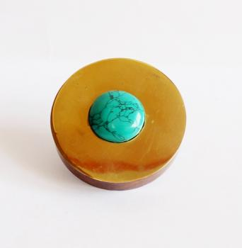 Round hand carved wooden knob with Brass and Turquoise stone