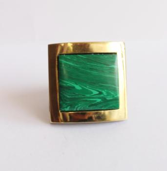 Wooden knob with brass with Malachite stone