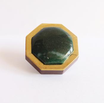 Hexagon Wooden knob with brass with Apatite stone