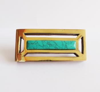 4*2 Rectangle wooden knob with Brass with turquoise stone