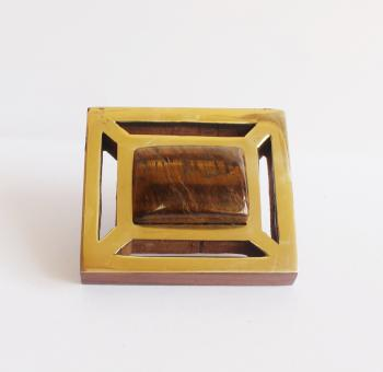 Rectangle wooden knob with Brass with tiger eye stone