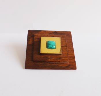 stair square wooden knob with brass with turquoise stone