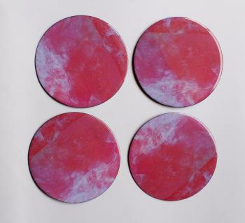 4inch Resin coasters in Rose Quarts with Iron base