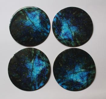 4inch Resin coasters in labradorite with Iron base