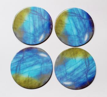4inch Resin coasters in Rainbow Moonstone with Iron base