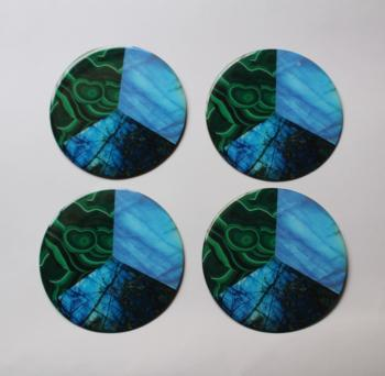 4inch Resin coasters in Rainbow Moonstone, Malachite, Labradorite with Iron base