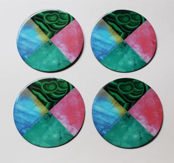 4inch Resin coasters in Rainbow Moonstone, Rose quarts, Malachite, Turquoise with Iron base