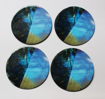 4inch Resin coasters in Rainbow Moonstone, Labradorite with Iron base