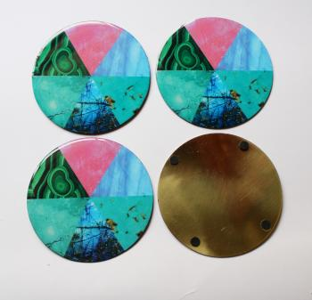 4inch Resin coasters in Rainbow Moonstone, Malachite, Rose Quarts , Turquoise, with Brass base