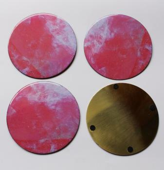 4INCH RESIN COASTERS IN ROSE QUARTS WITH BRASS BAS