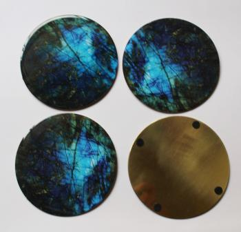 4INCH RESIN COASTERS IN LABRADORITE WITH BRASS BASE