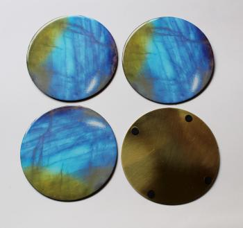 4INCH RESIN COASTERS IN RAINBOW MOONSTONE WITH brass BASE