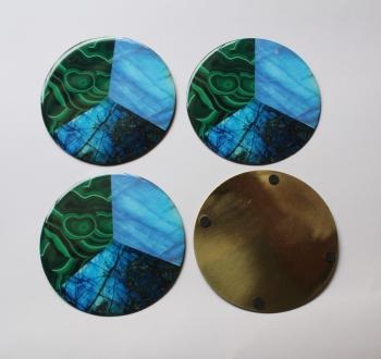 4INCH RESIN COASTERS IN RAINBOW MOONSTONE, MALACHITE, LABRADORITE WITH brass BASE
