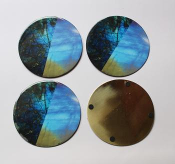 4INCH RESIN COASTERS IN RAINBOW MOONSTONE, LABRADORITE WITH BRASS BAS