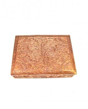 Hand carved Copper Square Jewelry Box