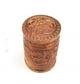Hand carved Copper Cylindrical Jewelry Box