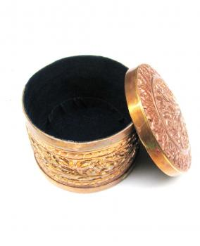 Hand carved Copper small Cylindrical Jewelry Box