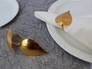 Leaf textured Brass Napkin Holder Ring (Gold Plated) - SET OF 4