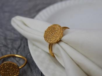 Asharfi textured Brass Napkin Ring (Gold Plated) - SET OF 4