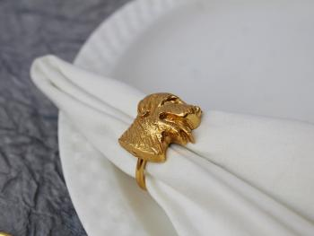 Dog Brass Napkin Holder Ring (Gold Plated) - SET OF 4