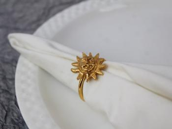 Sun Brass Napkin Holder Ring (Gold Plated) - SET OF 4