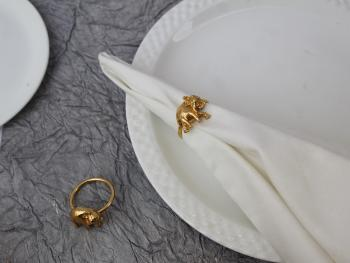 Elephant Calf textured Brass Napkin Holder Ring (Gold Plated) - SET OF 4