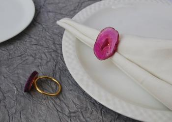 Pink Agate Brass Napkin Holder Ring (Gold Plated) - SET OF 4