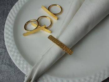 Brass Single Hammered napkin ring (SET of 4)