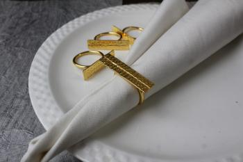 Brass Dual Hammered napkin ring (SET of 4)