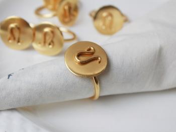 LEO Zodiac Brass Napkin Ring- Set of 4 (24 July- 23 Aug)