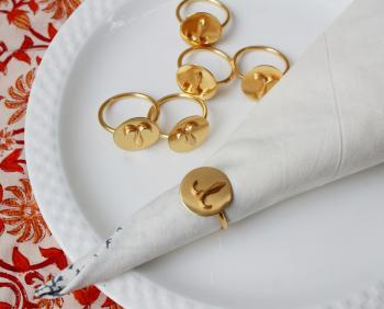ARIES Zodiac Brass Napkin Ring- Set of 4 (21 Mar- 19 Apr)