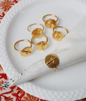SAGITTARIUS Zodiac Brass Napkin Ring- Set of 4 (23 Nov- 20 Dec)