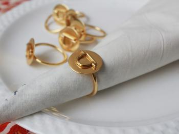 LIBRA Zodiac Brass Napkin Ring- Set of 4 (23 Sept- 22 Oct)