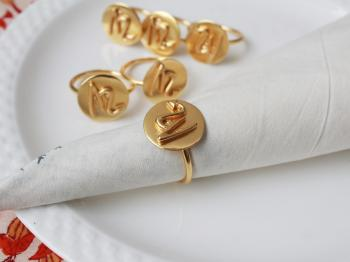 SCORPIO Zodiac Brass Napkin Ring- Set of 4 (23 Oct- 22 Nov)