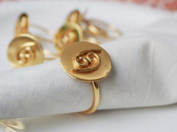 CANCER Zodiac Brass Napkin Ring- Set of 4 (22 June- 23 July)