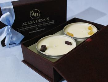 Citrine Semi precious Soy Aroma Tin Candle set of 2